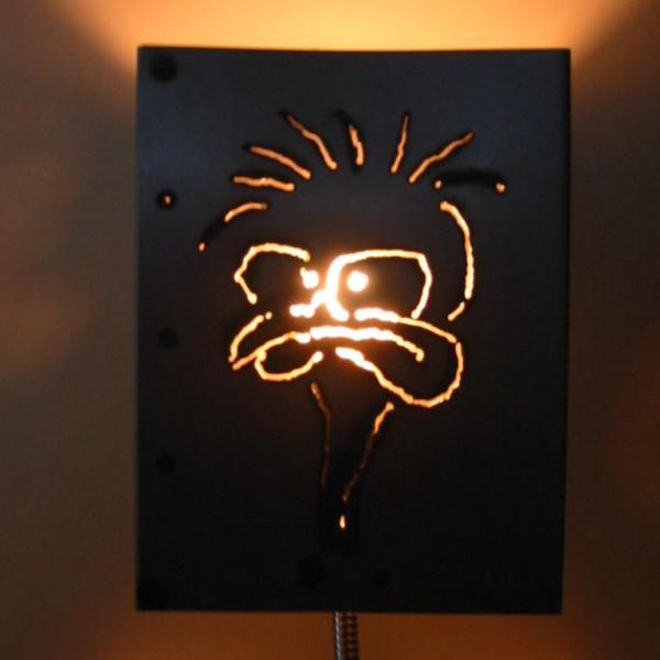 Serie lampen met unieke afbeeldingen. Staal. afm 30x20/ 30x40cm er zijn nog 3 exemplaren te koop.