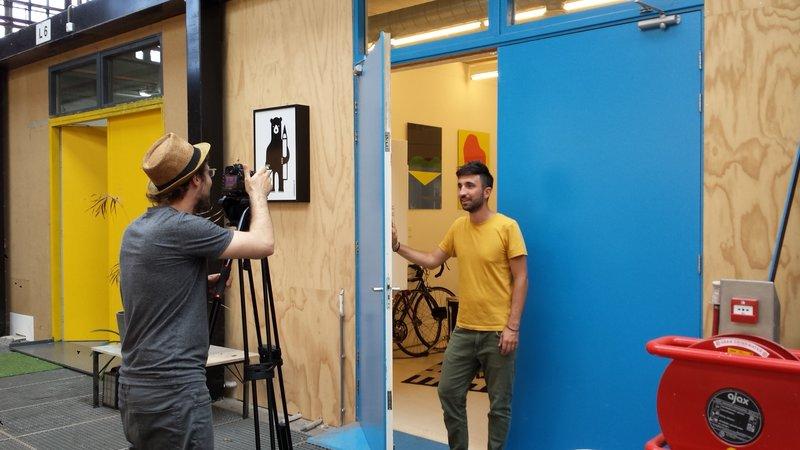 Foto van opname videopitch voor kunstenaars